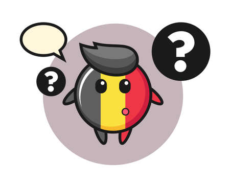 Belgium flag badge mascot illustration with the question mark, cute style design for t shirt, sticker, logo element