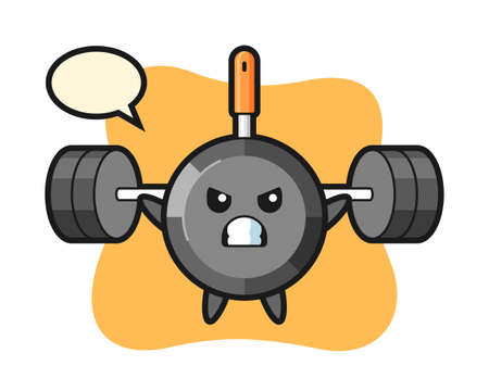 Frying pan mascot cartoon with a barbell, cute style design for t shirt, sticker, logo element
