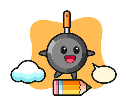 Frying pan mascot illustration riding on a giant pencil, cute style design for t shirt, sticker, logo element
