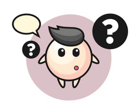 Cartoon illustration of pearl with the question mark, cute style design for t shirt, sticker, logo element Ilustrace