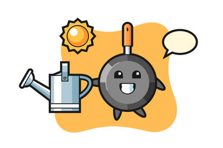 Cartoon character of frying pan holding watering can, cute style design for t shirt, sticker, logo element Vettoriali