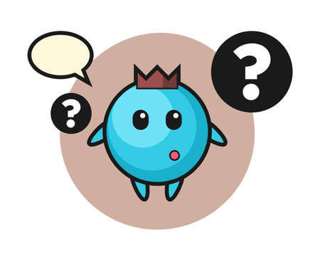 Cartoon illustration of blueberry with the question mark, cute style design for t shirt, sticker, logo element Ilustrace