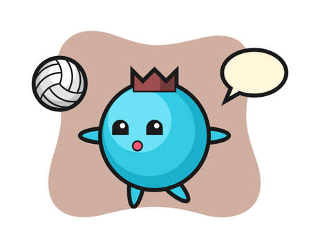 Character cartoon of blueberry is playing volleyball, cute style design for t shirt, sticker, logo element