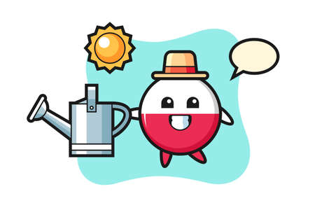 Cartoon character of poland flag badge holding watering can, cute style design for t shirt, sticker, logo element