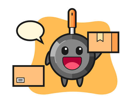 Mascot illustration of frying pan as a courier, cute style design for t shirt, sticker, logo element
