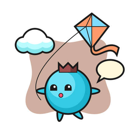 Blueberry mascot illustration is playing kite, cute style design for t shirt, sticker, logo element