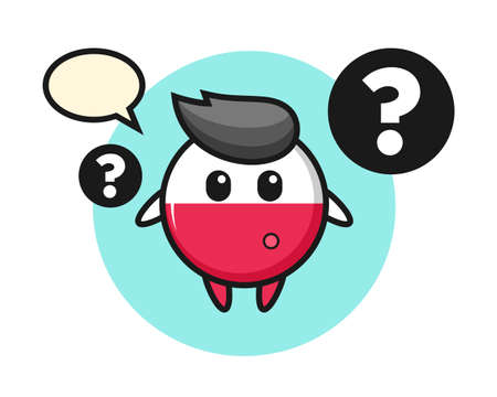 Cartoon illustration of poland flag badge with the question mark, cute style design for t shirt, sticker, logo element