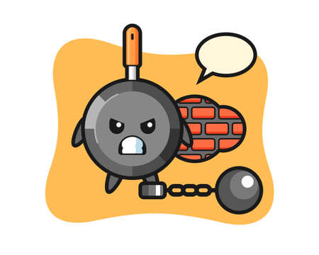 Character mascot of frying pan as a prisoner, cute style design for t shirt, sticker, logo element Logo