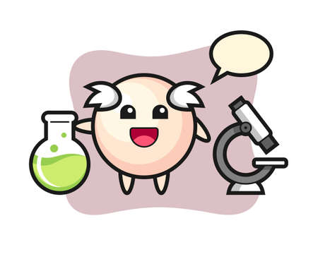 Mascot character of pearl as a scientist, cute style design for t shirt, sticker, logo element