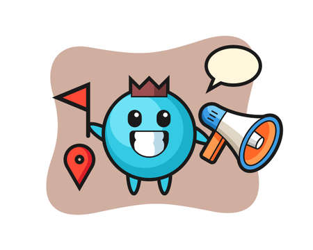 Character cartoon of blueberry as a tour guide, cute style design for t shirt, sticker, logo element