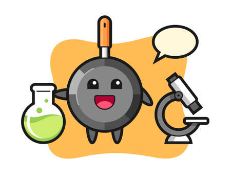 Mascot character of frying pan as a scientist, cute style design for t shirt, sticker, logo element