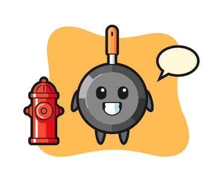 Mascot character of frying pan as a firefighter, cute style design for t shirt, sticker, logo element