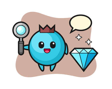Illustration of blueberry character with a diamond, cute style design for t shirt, sticker, logo element