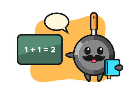 Illustration of frying pan character as a teacher, cute style design for t shirt, sticker, logo element Illustration