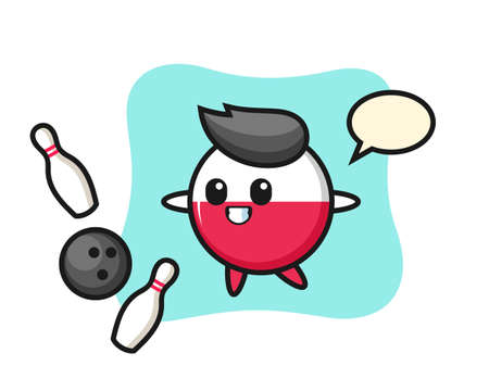 Character cartoon of poland flag badge is playing bowling, cute style design for t shirt, sticker, logo element Illusztráció