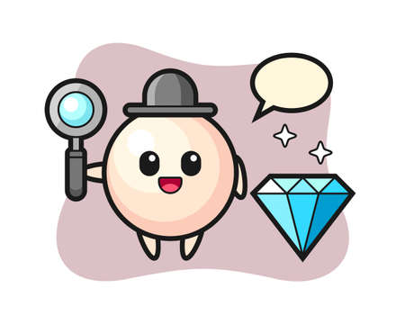 Illustration of pearl character with a diamond, cute style design for t shirt, sticker, logo element