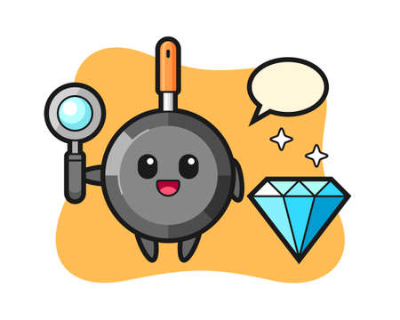 Illustration of frying pan character with a diamond, cute style design for t shirt, sticker, logo element