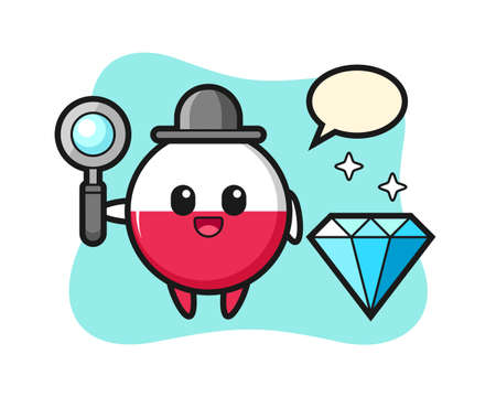 Illustration of poland flag badge character with a diamond, cute style design for t shirt, sticker, logo element
