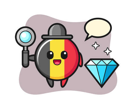 Illustration of belgium flag badge character with a diamond, cute style design for t shirt, sticker, logo element
