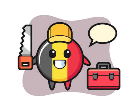 Illustration of belgium flag badge character as a woodworker, cute style design for t shirt, sticker, logo element