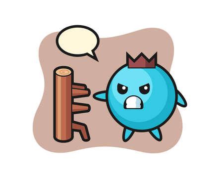 Blueberry cartoon illustration as a karate fighter, cute style design for t shirt, sticker, logo element