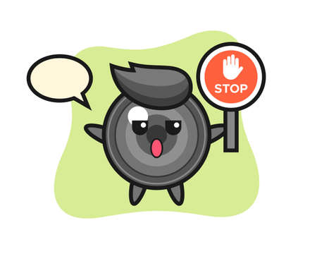 Camera lens character illustration holding a stop sign, cute style design for t shirt, sticker, logo element