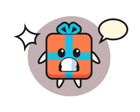 Gift box character cartoon with shocked gesture, cute style design for t shirt, sticker, logo element