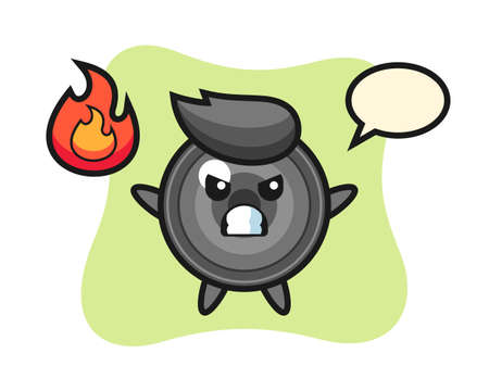 Camera lens character cartoon with angry gesture, cute style design for t shirt, sticker, logo element 向量圖像