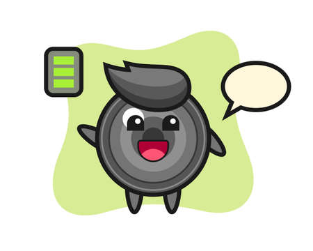 Camera lens mascot character with energetic gesture, cute style design for t shirt, sticker, logo element