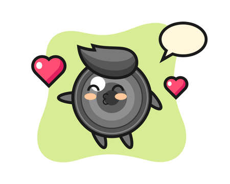 Camera lens character cartoon with kissing gesture, cute style design for t shirt, sticker, logo element