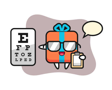 Illustration of gift box mascot as a ophthalmology, cute style design for t shirt, sticker, logo element Illustration