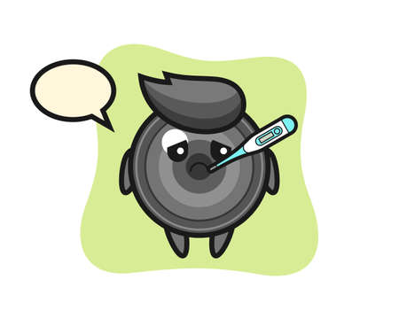 Camera lens mascot character with fever condition, cute style design for t shirt, sticker, logo element 向量圖像