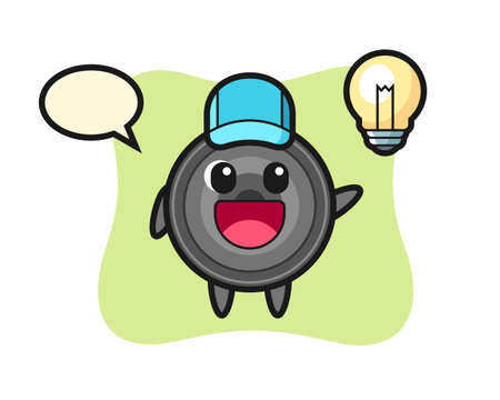 Camera lens character cartoon getting the idea, cute style design for t shirt, sticker, logo element