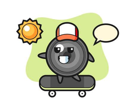 Camera lens character illustration ride a skateboard, cute style design for t shirt, sticker, logo element