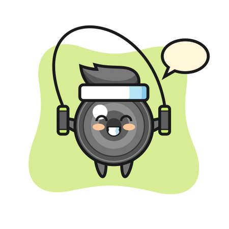Camera lens character cartoon with skipping rope , cute style design for t shirt, sticker, logo element