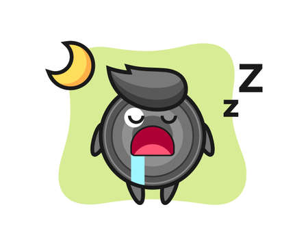 Camera lens character illustration sleeping at night, cute style design for t shirt, sticker, logo element