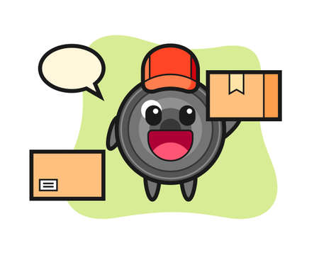 Mascot illustration of camera lens as a courier, cute style design for t shirt, sticker, logo element
