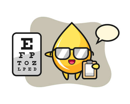 Illustration of honey drop mascot as a ophthalmology, cute style design for t shirt, sticker, logo element Illustration