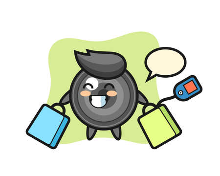 Camera lens mascot cartoon holding a shopping bag, cute style design for t shirt, sticker, logo element 向量圖像