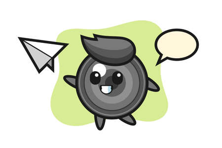 Camera lens cartoon character throwing paper airplane, cute style design for t shirt, sticker, logo element