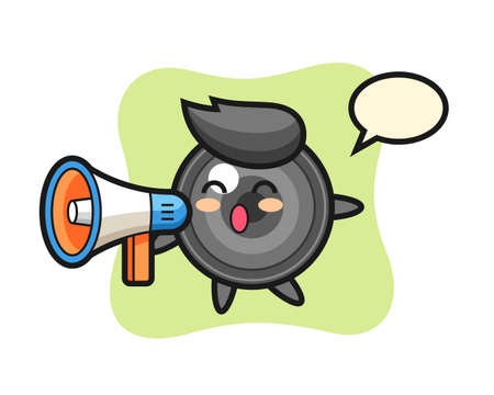 Camera lens character illustration holding a megaphone, cute style design for t shirt, sticker, logo element