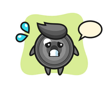 Camera lens mascot character with afraid gesture, cute style design for t shirt, sticker, logo element 向量圖像