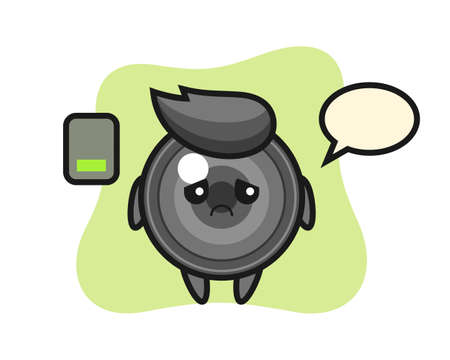 Camera lens mascot character doing a tired gesture, cute style design for t shirt, sticker, logo element