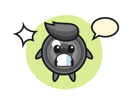 Camera lens character cartoon with shocked gesture, cute style design for t shirt, sticker, logo element Ilustrace