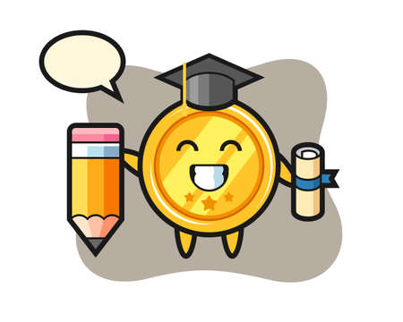 Medal illustration cartoon is graduation with a giant pencil, cute style design for t shirt, sticker, logo element