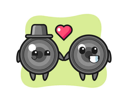 Camera lens cartoon character couple with fall in love gesture, cute style design for t shirt, sticker, logo element