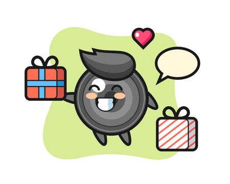 Camera lens mascot cartoon giving the gift, cute style design for t shirt, sticker, logo element