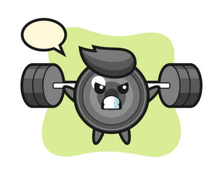 Camera lens mascot cartoon with a barbell, cute style design for t shirt, sticker, logo element
