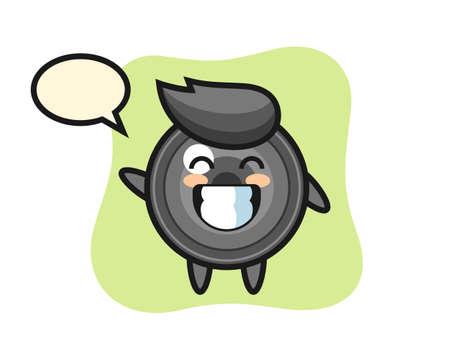 Camera lens cartoon character doing wave hand gesture, cute style design for t shirt, sticker, logo element