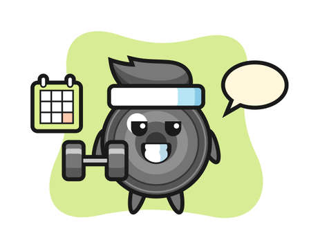 Camera lens mascot cartoon doing fitness with dumbbell, cute style design for t shirt, sticker, logo element